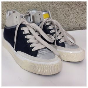 Rag & Bone Army High Top Trainers Navy Combo